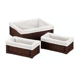 Household Essentials - Paper Rope Storage Utility Baskets, Brown - Our Paper Rope Storage Utility Baskets in dark brown color and white liner stores just about anything. Protective coating prevents mold and mildew and attached liner keeps the stored items safe and fresh. Easy to clean and compact, this basket de-clutters your home and organizes it stylishly.
