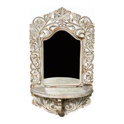 """Everybody's Ayurveda - Rectangular Mirror with Wall Shelf Shabby Chic - Rectangular Whitewash Mirror with Wall Shelf. MDF and Mirror. 15"""" Wide x 6 3/4"""" Deep x 26"""" Tall."""