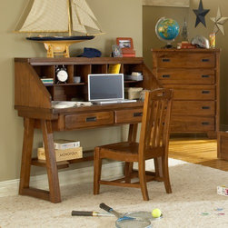 """American Woodcrafters - Heartland Computer Desk and Hutch Set - The Heartland 's simple spice protective finish is durable and easy to maintain. And each drawer is center guided with positive drawer stops for seamless operation with no accidental removal. The tip resistant furniture brackets will ensure that no matter what the adventure is, your daredevil will remain safe. Features: -Set includes desk, hutch and chair. -Heartland collection. -Asian hardwoods and veneers construction. -Recessed gun metal hardware. -14.5"""" Deep with finished interior drawers. -English dovetailed front and back with center guided drawer glides. -Felt in the bottom of all top drawers and dust proofing on bottom drawers to protect fine garments. -Solid wood drawers sides and backs in Albasia wood. -With Asian veneer drawers fronts with rubberwood bands on all 4 sides. -Nine openings in the hutch for storage. -2.75"""" Thick drawers. -Assembly required. -Manufacturer provides one year warranty from ship date."""