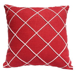 Pillow Fever - Red Linen Pillow with cotton rope design. - Pillow insert is not included!