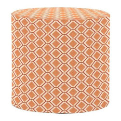 Howard Elliott Geo Tangerine No Tip Cylinder Ottoman - The No-Tip Cylinder is constructed with a dense light-weight foam and then topped off by a soft, high quality foam making it sturdy yet comfortable. Its unique design allows weight to be distributed evenly keeping it from tipping like most foam ottomans. Another bonus? This piece is indoor/outdoor so you can take it outside!