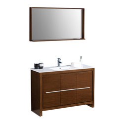"Fresca - Fresca Allier 48"" Modern Bathroom Vanity - Wenge - The Fresca 48"" Allier is a sleek, modern free standing vanity with plenty of storage space. This model is accented nicely with a matching mirror with small shelf."