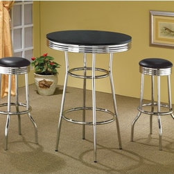 "Wildon Home � - Ridgeway Soda Fountain Bar Table Set in Black - Features: -Includes a table and set comes standard with 2 chairs - 1 set of 2. -Casual style. -Black or White finish tops with chrome accents. -Chrome rimmed tops, legs, and pedestals. -Smooth finished tops. Specifications: -Bar Table: 41.75"" H x 30"" W x 30"" D. -Bar Stool: 29"" H x 14.25"" W x 14.25"" D."