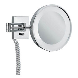 "Decor Walther - Decor Walther BS 25 PL/V Cosmetic Mirror - The BS 25 PL/V cosmetic mirror has been designed and made by Decor Walther.    The BS 25 PL/V cosmetic mirror of Decor Walther s a well-crafted  processed  item for upscale bathroom. By the noble chrome surface of the  vanity  mirror looks very valued and make applying makeup, shaving and  other  activities easier and more enjoyable. The BS 25 PL/V cosmetic mirror available in 5-fold magnification.  Product Details:  The BS 25 PL/V cosmetic mirror has been designed and made by Decor Walther.    The BS 25 PL/V cosmetic mirror of Decor Walther is a well-crafted  processed  item for upscale bathroom. By the noble chrome surface of the  vanity  mirror looks very valued and make applying makeup, shaving and  other  activities easier and more enjoyable. The BS 25 PL/V cosmetic mirror available in 5-fold magnification also equipped with swivelling spiral cable, plug and socket. Details:                                      Manufacturer:                                      Decor Walther                                                                  Designer:                                     In House Design                                                                  Made in:                                     Germany                                                                  Dimensions:                                      Height: 8.66"" (22 cm ) X Depth: 19.90"" (48 cm)                                                                   Light bulb:                                      2 x G23 Max 7W                                                                  Material:                                      Metal"