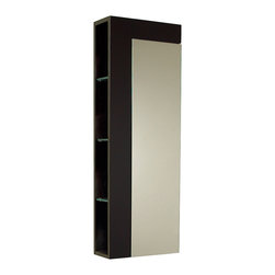 "Fresca - Fresca Espresso Bathroom Linen Side Cabinet w/ Large Mirror Door - Dimensions:  13.75""W x 5.88""D x 39.38""H. Materials:  Solid Wood Frame, MDF Panels. 4 Open Shelves. 1 Storage Area w/ Soft Closing Mirror Door. . . . . This elegant storage cabinet with an Espresso finish comes with a large mirror for its soft closing cabinet door and 4 exposed shelves on the side."