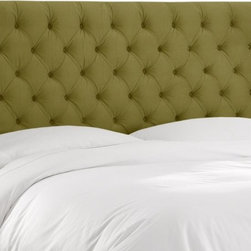 Skyline Furniture - Skyline Tufted Velvet Upholstered Headboard - 550TVLVBCK - Shop for Headboards and Footboards from Hayneedle.com! With soft velvet and deep tufts the Skyline Velvet Tufted Upholstered Headboard is a study in subtle and bold textures alike. Crafted with a durable wood frame covered in plush velvet - you choose applegreen aubergine buckwheat Caribbean light grey pewter or white - this high-profile headboard boasts diamond tufting and straight clean edges. Available in twin full queen king and california king sizes this headboard attaches to any standard bed frame. Spot clean. Headboard Dimensions: Twin: 41W x 4D x 54H inches Full: 56W x 4D x 54H inches Queen: 62W x 4D x 54H inches King: 78W x 4D x 54H inches California king: 74W x 4D x 54H inches About Skyline Furniture Manufacturing Inc.Skyline Furniture was founded in 1948 with the goal of producing stylish affordable quality furniture for the home. After more than 50 years this family-run business is still designing and manufacturing unique products that meet the ever-changing demands of the modern home furnishing industry. Located in the south suburbs of Chicago the company produces a wide variety of innovative products for the home including chairs headboards benches and coffee tables.