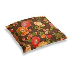 Red & Orange Modern Floral Custom Floor Pillow - A couch overflowing with friends is a great problem to have.  But don't just sit there: grab a Simple Floor Pillow.  Pile em up for maximum snugging or set around the coffee table for a casual dinner party. We love it in this large playful floral in bright reds, oranges and browns. Feel the poppy love with this modern print.