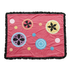 One Grace Place - Magical Michayla Medium Quilt with Applique Multicolor - 10-24024 - Shop for Quilts from Hayneedle.com! The stylish way to cuddle up is with the bright and cheery Magical Michayla Medium Quilt with Applique. The vibrant pink background and colorful geometric applique are the perfect accent to your little girl's room. A ruffled black border provides a charming finishing touch.