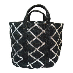 BrandWave - The Amazon, Basket, Black with Silver - Hand loomed from all natural materials; the Amazon collection is sturdy and durable. Be comforted that your unique basket is a one-of-a-kind piece. These baskets are perfect for storing a variety of items all throughout your home.