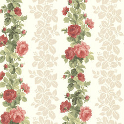 Brewster Home Fashions - Preshea Red Rose Stripe Wallpaper. - Bring into your home the beauty of deep rose reds and gorgeous pearlescent leaves. Lush floral stripes alongside sophisticated leaf patterns create a wall covering that's both vintage and modern.