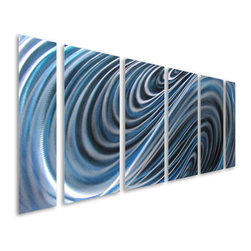 "Pure Art - Divinity of Denim Abstract Aluminum Wall Art Set of 6 - If you love the look of denim, then you will love the way it looks on your wall!  This metal wall art grouping is inspired by ""blue jeans"" and is aptly named the Divinity of Denim Abstract Aluminum Wall Art Set of 6.  Six individual panels feature swirling blue and silver colors that seem to mesmerize the viewer from the first glance.  Handcrafted aluminum wall art is also painted by hand and is made from premium aluminum and finished in high gloss to retain its attractiveness for many yearsMade with top grade aluminum material and handcrafted with the use of special colors, it is a very appealing piece that sticks out with its genuine glow. Easy to hang and clean."