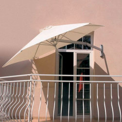 Wall Mounted Umbrella - This wall mounted umbrella has a reticulated arm for easy placement. Great of small balconies and patios.
