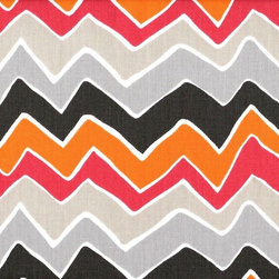 Close to Custom Linens - Twin Bedskirt 22 inch Drop Gathered Seesaw Chevron - Seesaw is a contemporary chevron pattern in greys, orange and pink. The background is natural cotton. Gathered with 1 1/2 to 1 fullness, split corners and a 22 inch drop. 100% cotton with a cotton/poly platform.