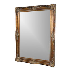 Ultimate Accents - Marbella Avignon Floor Mirror - Handcrafted. Carved composition accents. Wide frame. French inspired craftsmanship. 0.50 in. beveled. Made from resin, wood and glass. Antique bronze finish. No assembly required. Glass: 46.5 in. W x 69.5 in. H. 0.5 in. Bevel. Overall: 63 in. W x 86 in. H (214 lbs.)The Marbella Avignon Mirror makes you feel like you've stolen a small piece of France and brought it back to you. Bring a depth and spacious feeling to any room. Reminiscent of  that particular region, the Avignon Mirror bring that prestigious, old world feel to any living area.
