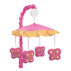 Sweet Jojo Designs - Butterfly Pink & Orange Crib Mobile - The Butterfly Pink & Orange Crib Mobile will have you putting your baby to sleep in style. When wound up this crib mobile spins and plays Brahms' lullaby. This musical crib mobile has been manufactured to fit standard sized cribs. The mobile set includes a musical mobile frame, canopy with hanging toys, and matching arm sleeve cover.