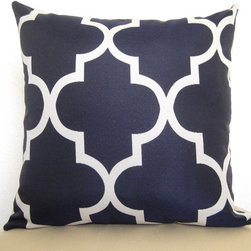 Moroccan Quatrefoil Lattice Designer Pillow by Willa Skye - I think this navy pillow cover is bold and perfect for nautical- or modern-inspired spaces.