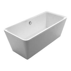"Whitehaus - Freestanding Soaker Tub - Whitehaus WHHQ170BATH 67"" Bathhaus Cubic Style Dual Arm Rest Freestanding Acrylic Tub White"