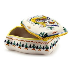 Artistica - Hand Made in Italy - Raffaellesco: Rectangular Jewelry Box (New!) - Raffaellesco Collection: Among the most popular and enduring Italian majolica patterns, the classic Raffaellesco traces its origin to 16th century, and the graceful arabesques of Raphael's famous frescoes.