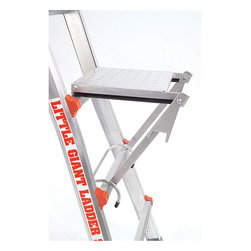 LITTLE GIANT - Little Giant Work Platform - This versatile Work Platform fits on the rungs of any Little Giant multi-use ladder and is rated to hold up to 300 pounds. This platform can be used as a tray for a paint bucket or tools,or use it as a sturdy,comfortable standing platform.
