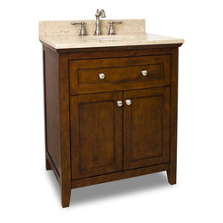 Hardware Resources - Catham Shaker Jeffrey Alexander Vanity  30 x 22 x 36 - This 30 inch wide solid wood vanity features a clean shaker design in a warm Chocolate finish.  With a top drawer fitted around plumbing and spacious cabinet with adjustable shelf  there is plenty of storage space.  Drawers are solid wood dovetailed drawer boxes fitted with full extension soft close slides  and cabinet features integrated soft close hinges.   This vanity has a 2.5CM engineered Emperador Light marble top preassembled with an H8809WH (15 x 12) bowl  cut for 8 faucet spread  and corresponding 2CM x 4 tall backsplash.   Overall Measurements: 30 x 22 x 36 (measurements taken from the widest point) Finish: Chocolate Material: Wood Style: Traditional Coordinating Mirror(s): MIR090 24  MIR090 30 Bowl: H8809WH Coordinating Hardware: 3915 SN