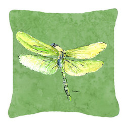 Caroline's Treasures - Dragonfly on Avacado Fabric Decorative Pillow - Indoor or Outdoor Pillow from heavyweight Canvas. Has the feel of Sunbrella Fabric. 18 inch x 18 inch 100% Polyester Fabric pillow Sham with pillow form. This pillow is made from our new canvas type fabric can be used Indoor or outdoor. Fade resistant, stain resistant and Machine washable..