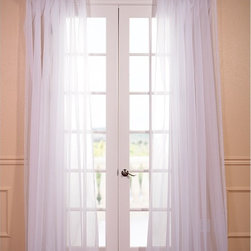 EFF - White Doublewide Poly Voile Sheer Curtain Panel - This double-wide sheer curtain panel makes a light and breezy accent for any interior decor. Crafted from 100 percent poly voile and featuring a pole-pocket design,this timeless curtain panel pairs well with a range of casual decors.