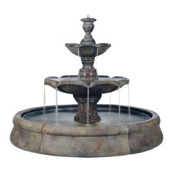 Henri Studios - Finial Spill Stone Fountain in Crested Pool, Garden Stone - Water bubbles from the finial top down the cast stone tiers to make this piece an instant classic. This Majestic Finial Spill Fountain would be a great centerpiece to your courtyard or garden.  Beautifully designed, the water cascades into the great crested pool below.  What a sight!
