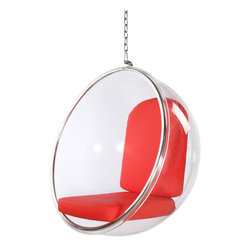 Lemoderno - Bubble Hanging Chair Cushion By Lamoderno, Red Cushion - Dimensions: W41' x D32' x H42'