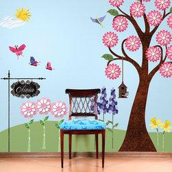 My Wonderful Walls - Splendid Garden Wall Sticker Kit - 62 large flower garden themed fabric wall stickers