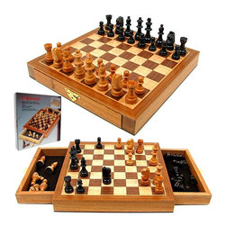 Trademark Global - Elegant Inlaid Wood Cabinet w Staunton Wood C - Includes instruction guide. Detailed Staunton wooden chess pieces with polished finish and felt lined bottom. Magnetic pieces and playing surface. Board features fabric lined drawers to hold pieces. King height: 2.13 in.. Board dimensions: 9.88 in. L x 9.88 in.W x 1.38 in. HTake your gaming to the next level with the royal game, the game of chess! This beautiful chess set has been cleverly designed with fabric lined drawers on each side of the board for convenient piece storage. The Staunton pieces are excellently crafted from extravagant woods and feature a polished finish. All the pieces are easily stored inside the board for safe keeping.
