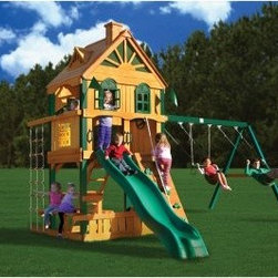 Gorilla Blue Ridge Riverview Swing Set - When you set up the Gorilla Riverview Swing Set in your yard, you are making a commitment to some serious fun. Gorilla Playsets has combined some serious aesthetic and construction skill with their top-selling play elements to make a small village of entertainment for your backyard. Your kids will love what they can do, and you'll love the quality and style that they can do it in.The central feature of this play set is the 24-square-foot clubhouse, raised 5 feet above the ground and constructed of poly-coated cedar. The upper level of the clubhouse features working shutters designed in the Palladian style, and imaginations will run wild with the integrated tic-tac-toe board, flag kit, telescope, and steering wheel. Finding your way into the clubhouse is no job for the boring, because you'll have to brave the rock climbing wall, rope ladder, or entry ladder to get in, and a 10-foot extreme wave slide will help you find your way out. For an added bit of protection, durable metal safety handles are located throughout. You won't worry about the elements when your little ones are covered by a tongue-in-groove cedar roof featuring mesh-covered dormers and a chimney. Attached to the main clubhouse is an A-frame swing set constructed with patented, heavy-duty A-frame bracket. Powder-coated metal supports and central beam can withstand hours of fun on the two swings or trapeze, configured in any of the three optional positions.Using all the space that's available, you will find a sandbox with lowered walls and an extended picnic table just below the clubhouse. This play set has a little something for everyone and every kind of mood.This playset will require approximately 8 - 10 hours of setup, and some moderate use of hand tools. All wooden components are pre-sanded and pre-drilled for safe and easy assembly.Additional Features:Free-standing design requires no stakes or footings3-position swing set beam on patented A-frame bracketCedar components are naturally rot and insect resistantRoof accents include a chimney and dormers with mesh coveringWorking Palladian style shutters on upper-level clubhouseIntegrated tic-tac-toe board, telescope and steering wheelSafe entry ladderTimber shield poly-coating on all wooden componentsIncludes owner's manual, 3-D assembly instructions and hardwareAbout Gorilla PlaysetsSince 1992, Gorilla Playsets has been designing and selling ready-to-assemble playsets. With a reputation for providing excellent customer service, Gorilla Playsets conveniently provides customers with affordable playsets including quality wood components, sturdy playset accessories, all necessary hardware, and clear instructions. Gorilla Playsets always keeps safety in mind while creating inventive, durable products that provide children with myriad possibilities for fun and play.
