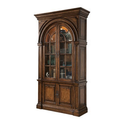 Ambella Home - Mariedal Arched 2-Door Bookcase - Dark - In your formal dining room or living room, this exquisitely arched, two-door bookcase will reflect your refined sense of design and style. Crafted from solid white cedar and finished with an antique walnut with burnished gold, four adjustable shelves behind the glass doors display your finest collectibles in a lighted interior with dimmer switch.