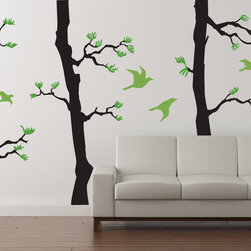 Cherry Walls - Forest Pine Decal, Black/Yellow Green/Lime Tree Green - Slip away to your quiet retreat. It only takes a few moments to still your mind, and it only takes a few minutes to surround yourself with awe-inspiring pine trees, no matter where you live. With these gorgeous pine tree decals, you can instantly transform any room into a tranquil space perfect for gathering your thoughts and creative ideas.