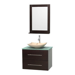 """Wyndham Collection - Centra 30"""" Espresso Single Vanity, Green Glass Top, Arista Ivory Marble Sink - Simplicity and elegance combine in the perfect lines of the Centra vanity by the Wyndham Collection. If cutting-edge contemporary design is your style then the Centra vanity is for you - modern, chic and built to last a lifetime. Available with green glass, pure white man-made stone, ivory marble or white carrera marble counters, with stunning vessel or undermount sink(s) and matching mirror(s). Featuring soft close door hinges, drawer glides, and meticulously finished with brushed chrome hardware. The attention to detail on this beautiful vanity is second to none."""