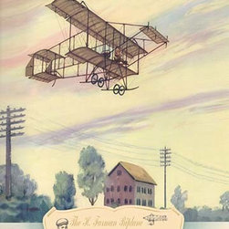 """Buyenlarge.com, Inc. - The H. Farman Plane, 1910- Fine Art Giclee Print 24"""" x 36"""" - Biplanes or planes with Double sets of Wings during the period of early aviation"""
