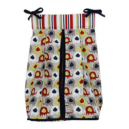 Trend Lab - Trend Lab Elephant Parade Crib Bedding Set - Diaper Stacker - The Elephant Parade Diaper Stacker by Trend Lab. Diaper stacker body features a marching elephant print in navy blue cream barn red and dove and elephant gray. A coordinating stripe print top and navy blue trim and ties complete this convenient storage option. Ties allow for easy attachment to most dressers and Changing tables. Measures 12 in x 8 in x 20.25 in and holds up to three dozen diapers.