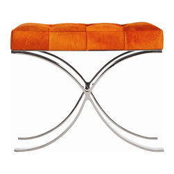 Arteriors - Decker Bench - Midcentury modern design — celebrated for its unfussy lines and curves — has reached classic status. This bench, inspired by the era, features generous hide upholstery and a polished nickel-finish base to add sleek style and function to your home.