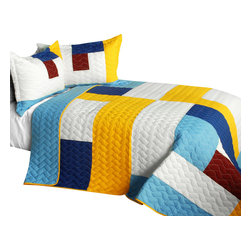 Blancho Bedding - [Timeless - B] Cotton Vermicelli-Quilted Patchwork Geometric Quilt Set-Queen - The [Timeless - B] Cotton Vermicelli-Quilted Patchwork Geometric Quilt Set-Queen includes a quilt and two quilted shams. This pretty quilt set is handmade and some quilting may be slightly curved. The pretty handmade quilt set make a stunning and warm gift for you and a loved one! For convenience, all bedding components are machine washable on cold in the gentle cycle and can be dried on low heat and will last for years. Intricate vermicelli quilting provides a rich surface texture. This vermicelli-quilted quilt set will refresh your bedroom decor instantly, create a cozy and inviting atmosphere and is sure to transform the look of your bedroom or guest room. (Dimensions: Full/Queen quilt: 90.5 inches x 90.5 inches; Standard sham: 24 inches x 33.8 inches)