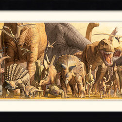 """Amanti Art - Dinosaurs Framed Print by Haruko Takino - Haruko Takino creates a stampede of majesty and fearsomeness in this """"Dinosaur"""" print. Add a touch of prehistoric art to your wall."""