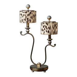 Uttermost - Malawi Accent Lamp - You might panic if you're out on an expedition and you awake to this recognizable print in your line of sight. With this eye-catching lamp, there's nothing to fear — you're in the safe confines of your bedroom and what you see are just these lovely (and harmless) lampshades.