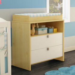 South Shore - Cookie Changing Table - As time goes by, children's interests change as their needs change. The rounded lines and front panel of this highly practical changing table make it perfectly safe for your baby. It also features an open storage compartment that's ideal for keeping essential items close at hand. Because babies grow so fast, you can use this changing table to create a bedroom that will meet your child's needs for a number of years, by combining it with the other pieces in this collection. In addition, its two-tone finish allows it to blend well with many décors, so you can change your little one's bedroom to suit his or her tastes without having to think about replacing the furniture. Features: -Changing station is removable, allowing a transformation into a chest.-Rounded features and a front panel for added safety.-Open storage space for easy access to baby products.-2 Practical drawers with metal drawer slides for smooth gliding.-Meets or exceeds all US Consumer Product Safety Commission Standards and conforms to ASTM standards as well (ASTM F2388).-Manufactured from eco-friendly, EPP-compliant laminated particle board carrying the Forest Stewardship Council (FSC) certification.-Metal handles in a chrome finish.-Cookie collection.-Collection: Cookie.-Distressed: No.-Country of Manufacture: Canada.Dimensions: -Overall Product Weight: 96 lbs.Warranty: -5 Year warranty.