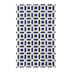 Peyton Rug, Navy - This navy patterned rug is from PBteen, but don't let that fool you — it will look nice in any room, no matter your age.