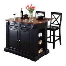 Crosley Furniture - Crosley Coventry Drop Leaf Breakfast Bar Kitchen Island with Stools in Black - Crosley Furniture - Kitchen Carts - KF300073BK