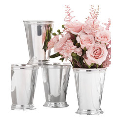 Set of 4 Mint Julep Cups in Gift Box - A quartet of lacquered silver drinking vessels also makes a trim row of vases for every seasonal flower the choice is yours with this upscale Set of 4 Mint Julep Cups on hand. Gift-boxed for a thoughtful presentation of a piece of drink ware few people still own, the elite cups are silver-plated over brass and can be safely hand-washed after drinking from the flared and beaded vessel.