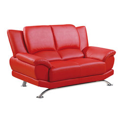 Global Furniture - Global Furniture USA 9908 Bonded Leather Loveseat in Red - The global furniture USA loveseat has been modeled to cater to both the desires of the contemporary or transitional home for design and comfort. Upholstered in red bonded leather and Leather match with chrome legs to complete the look.