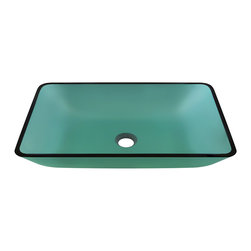 """MR Direct - Emerald Colored Glass Vessel Bathroom Sink - The 640-Emerald Colored Glass Vessel Sink is manufactured using fully tempered glass, which is non-porous, easy to clean and resistant to stains and odors. This rectangular vessel sink is made with green-tinted glass, which will add a pop of color to any bathroom. A corresponding Glass Waterfall Faucet is available with this sink, which includes a matching disc and your choice of chrome, brushed nickel or oil rubbed bronze faucet. The overall dimensions for the 640-Emerald are  with a 24"""" minimum cabinet size. As always, our glass sinks are covered under a limited lifetime warranty for as long as you own the product."""