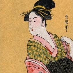 Wallmonkeys Wall Decals - Fine Art Murals Japanese Matchbox Label with a Woman in a Pink and Green Kimono - Easy to apply - simply peel and stick!