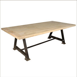 Industrial Tropical Wood and Iron Double Pedestal Dining Table - You'll get right down to the work of eating, entertaining, and everything else with our Industrial Double Pedestal Dining Table.