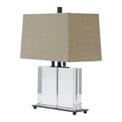 "House of Troy - Oil Rubbed Bronze and Rectangular Crystal Table Lamp - Dimensions: 19""D, 15""W, 11""D. Shade Size: 10""x14"" x 11""x15"" x 9"""