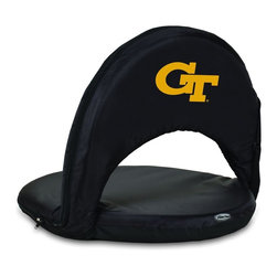 Picnic Time - Georgia Tech Oniva Seat Recreational Reclining Seat Black - When you need a recreational reclining seat that's lightweight and portable, the Oniva Seat is for you. It has an adjustable shoulder strap and six adjustable positions for reclining. The seat cover is made of polyester, the frame is steel, and the seat is cushioned with high-density PU foam, which provides hours of comfortable sitting. The bottom of the seat is black so as not to soil easily. The Oniva Seat is great for the beach, the park, gaming and boating.; College Name: Georgia Tech; Mascot: Yellow Jackets; Decoration: Digital Print
